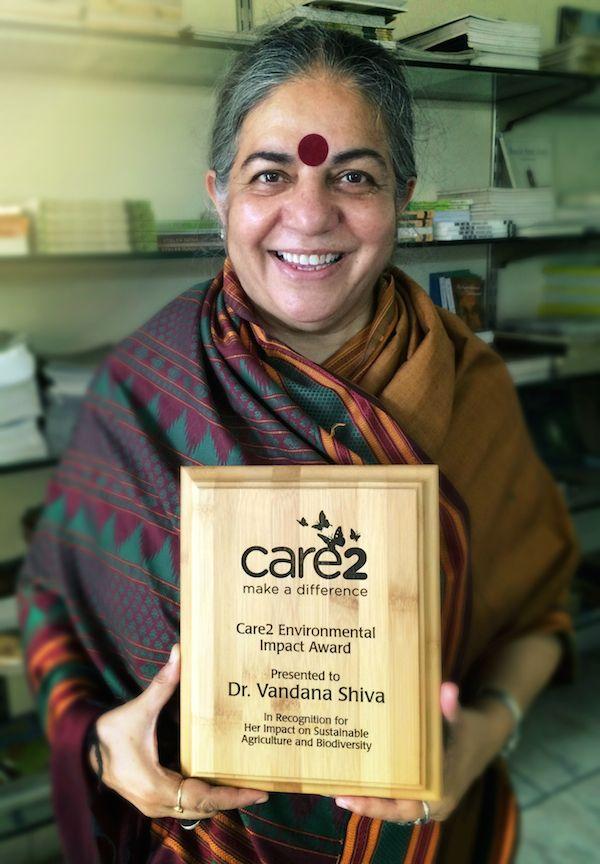 Dr. Vandana Shiva accepting the Care2 Environmental Impact Award