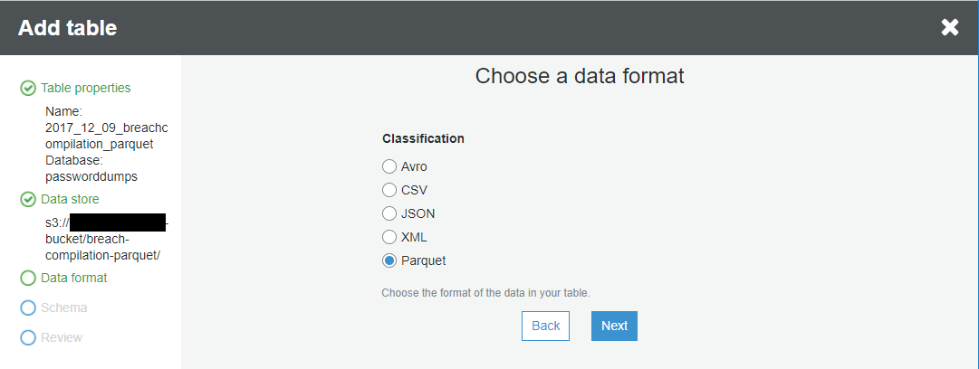Select the data format from the options supported by glue