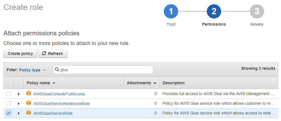 Use the Existing AWS Glue Service Role Managed Policy