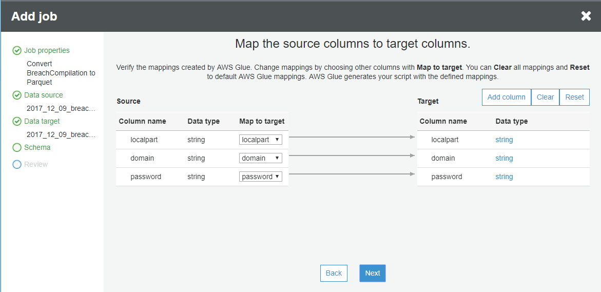 specify the mappings from the source to the target