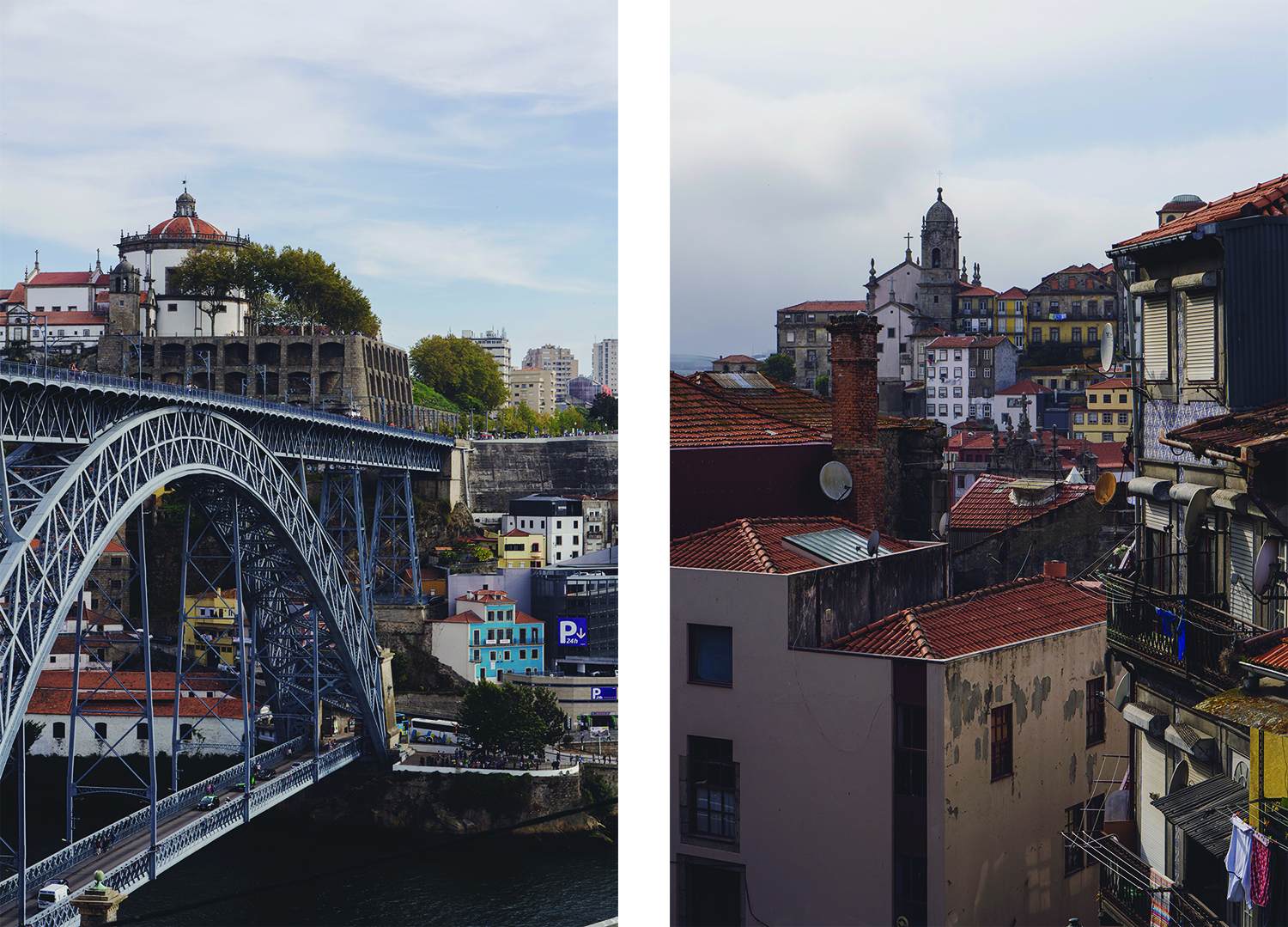 The Dom Luis Bridge and small streets of Ribeira in Porto
