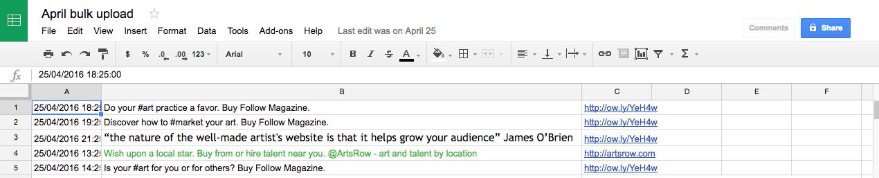 Hootsuite bulk upload for art marketing