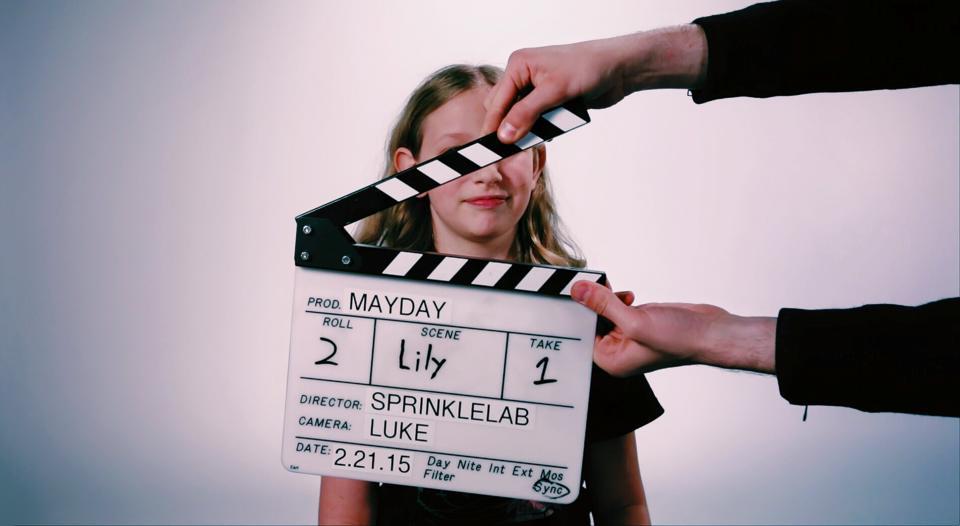 Lily on set