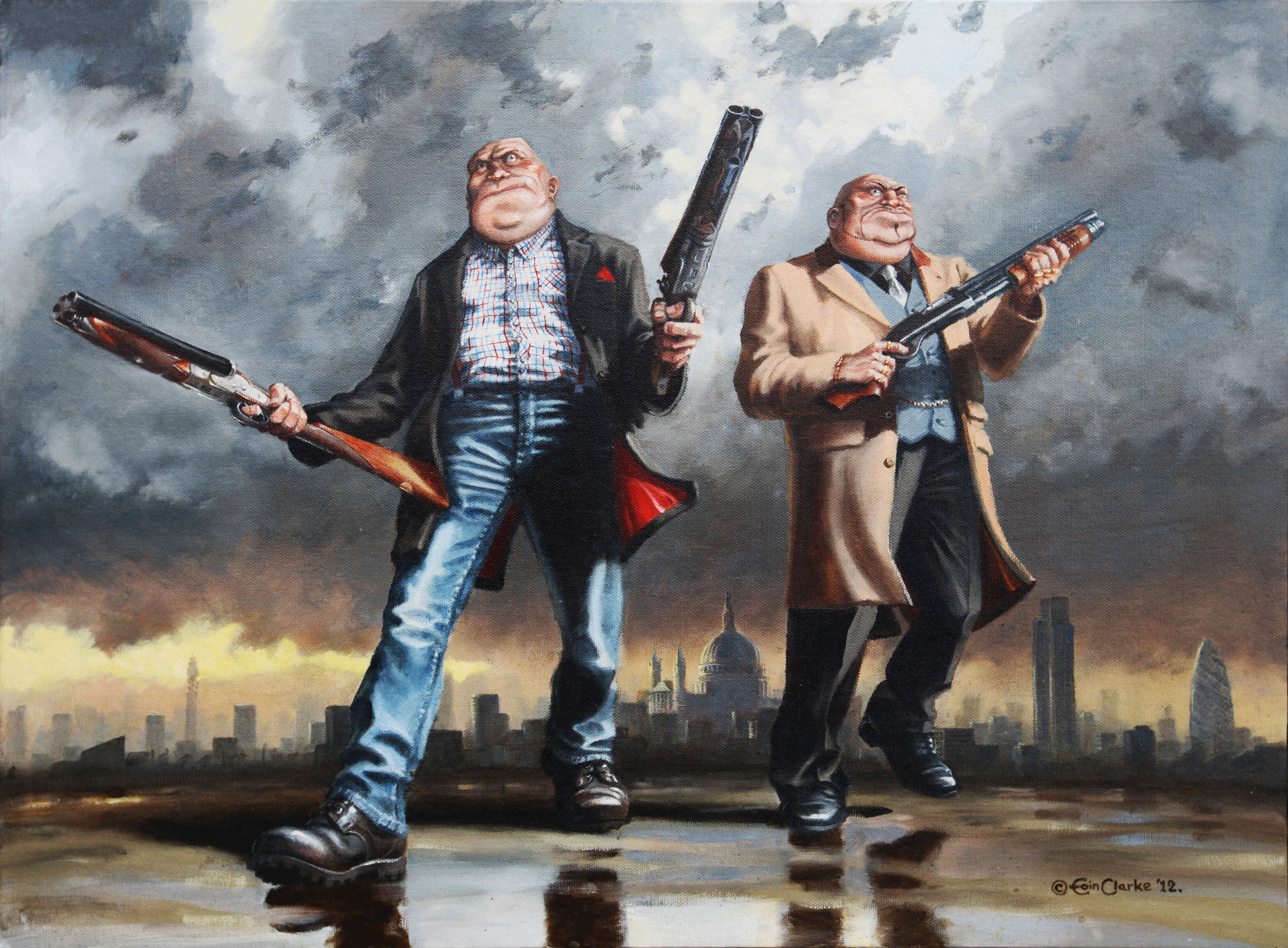 The Bruvs in an oil painting