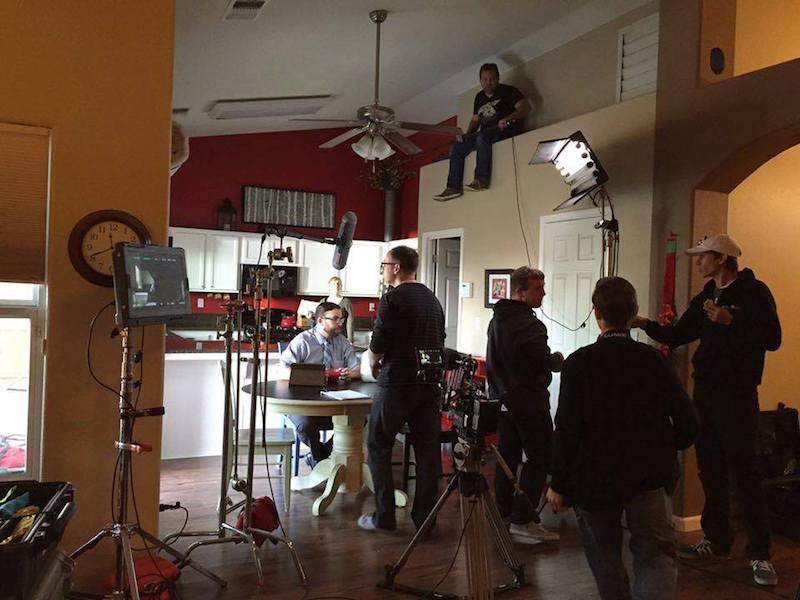 On set on The Shift short film