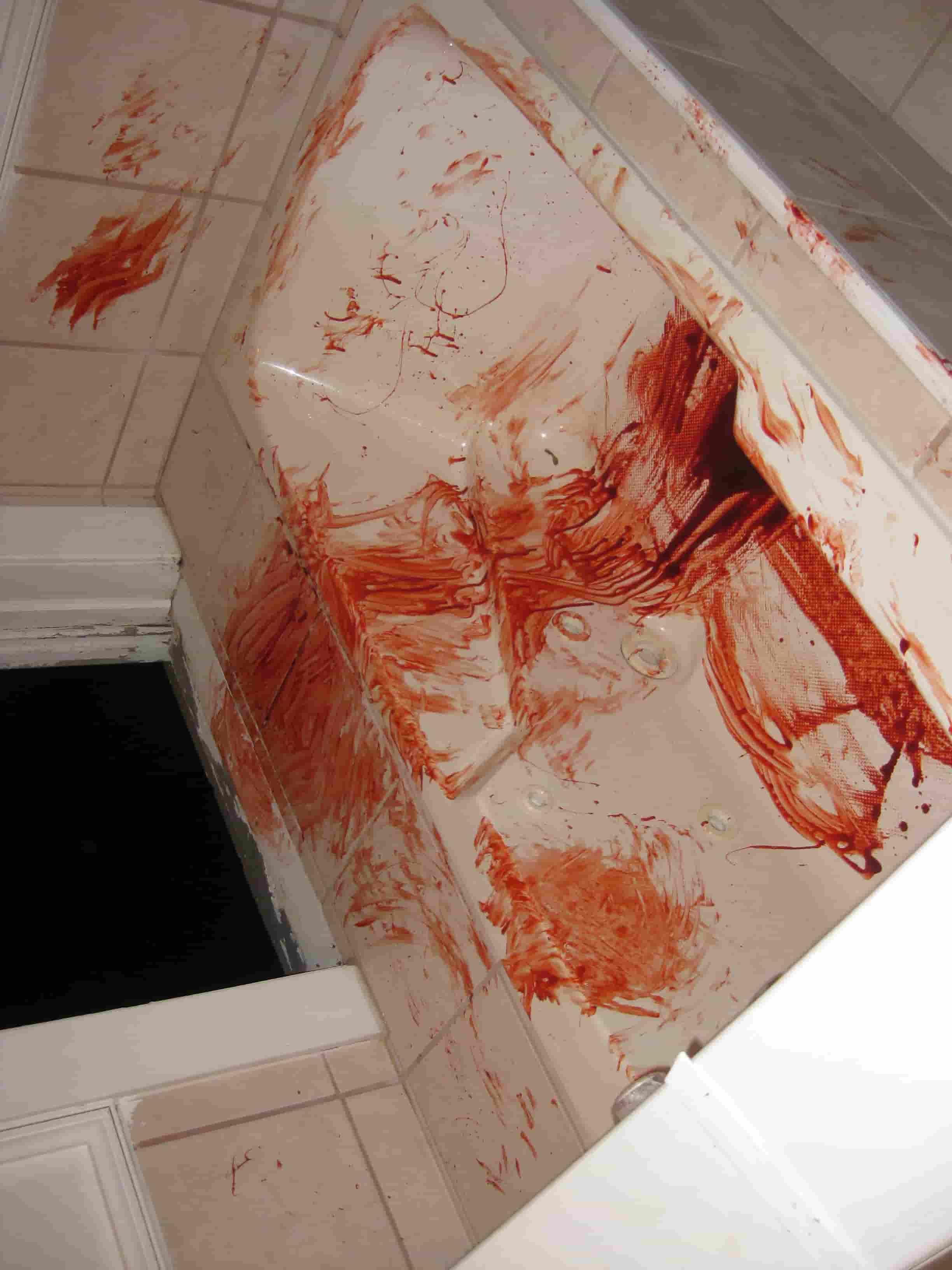 Jed Brian, indie horror filmmaker bath production still