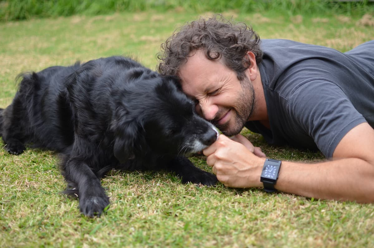 Documentary filmmaker Eryn Wilson with his dog Monty (RIP)