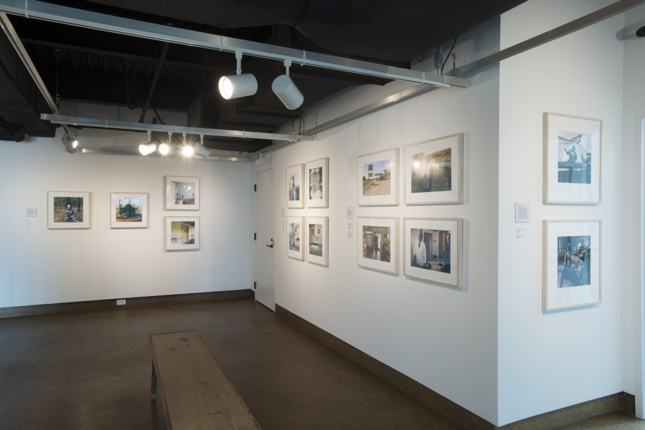 Installation view of  Southbound  shows Christopher Sims's work on left from  Theater of War: The Pretend Villages of Iraq and Afghanistan.  Installation photograph by Rick Rhodes Photography.