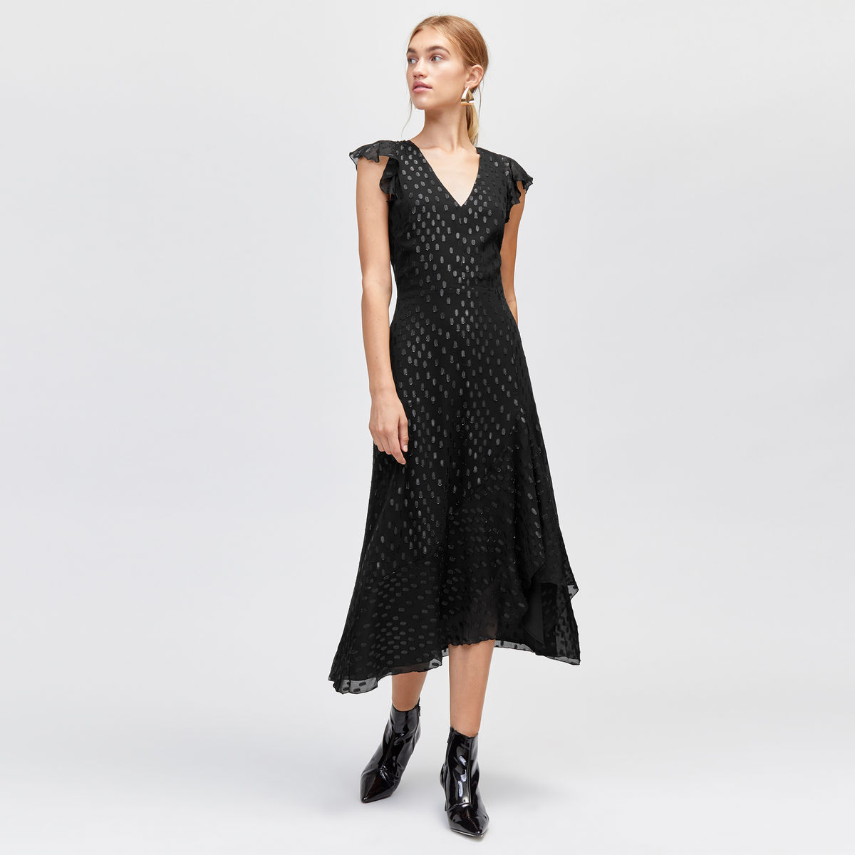 Metallic Spot Midi Dress