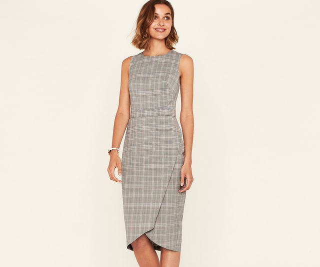 Long Check Tailored Dress £28