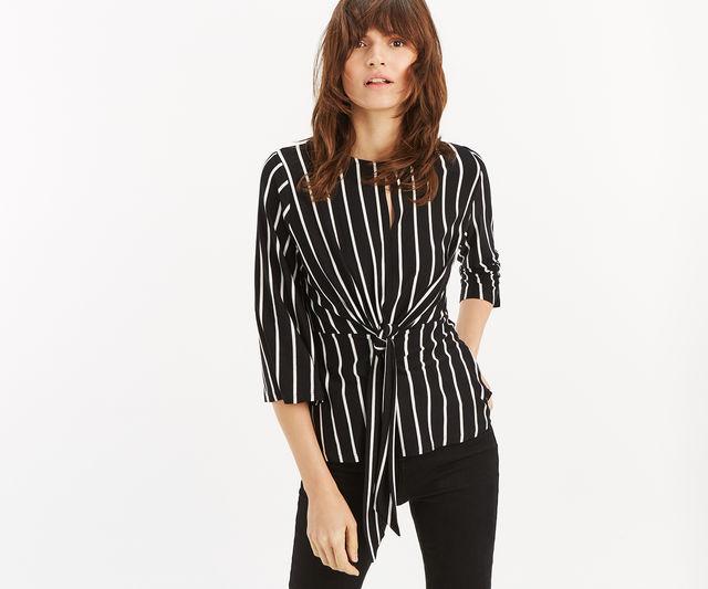Stripe Tie Front Top £15