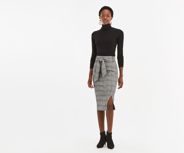 Monocheck Pencil Skirt £14