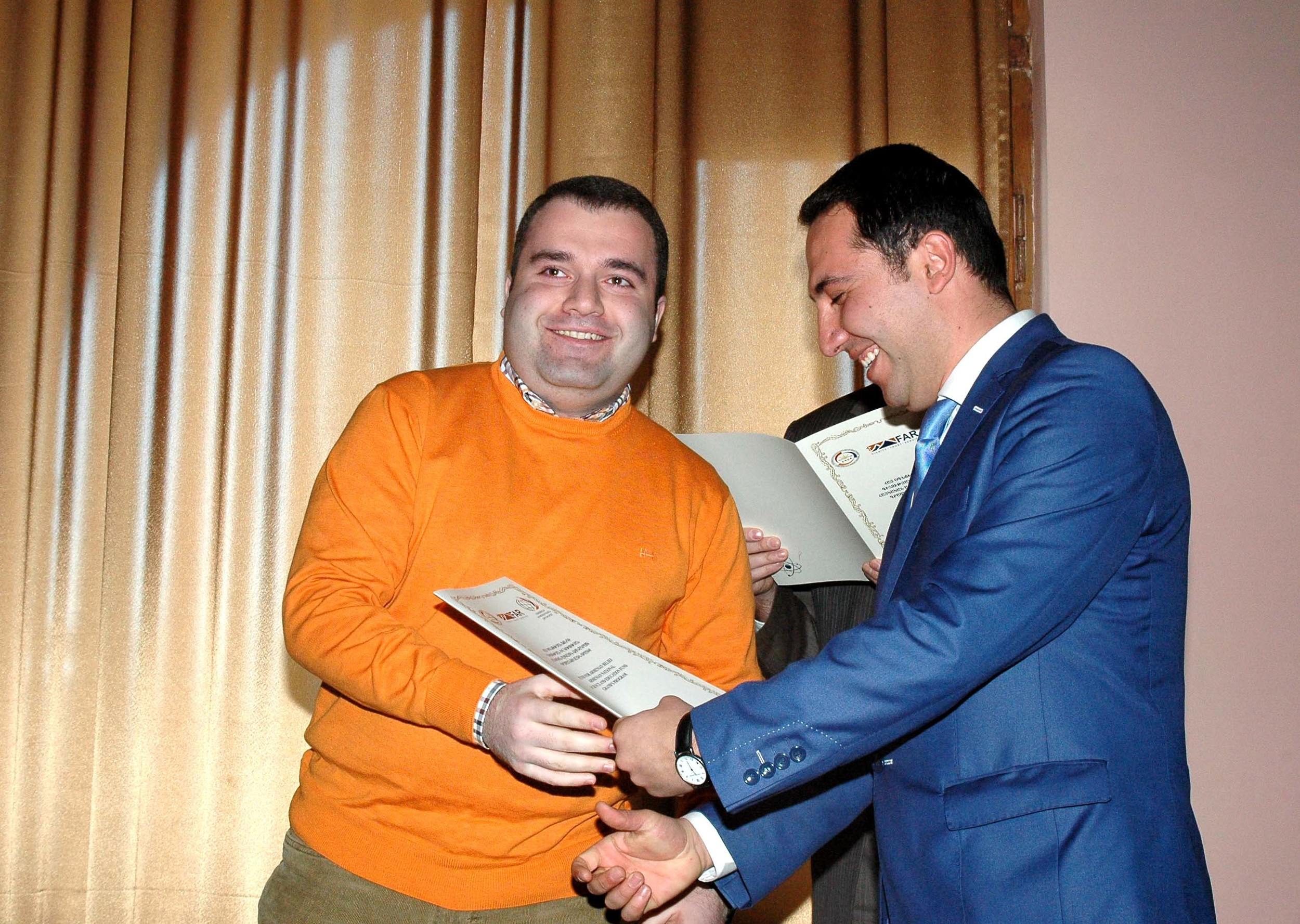 22.Gevorg Vardanyan giving certificates to ANSEF 2014 awardees (1).JPG