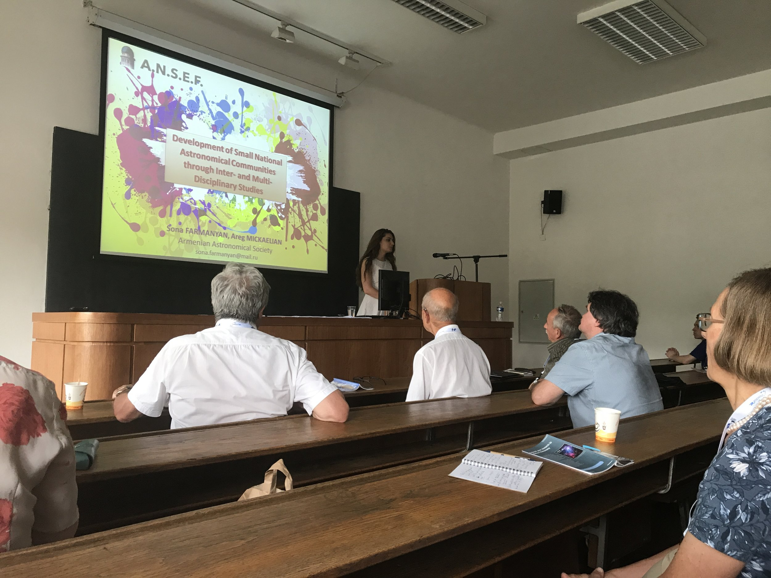 1. PI Sona Farmanyan  presenting her ANSEF researh work at Prague European Week of Astronomy and Space Science (EWASS).JPG