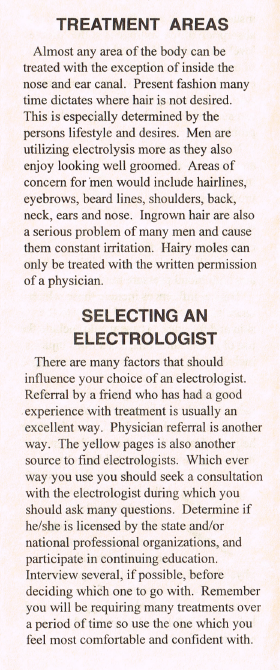 Electrolysis Treatment Areas & Selecting an Electrologist