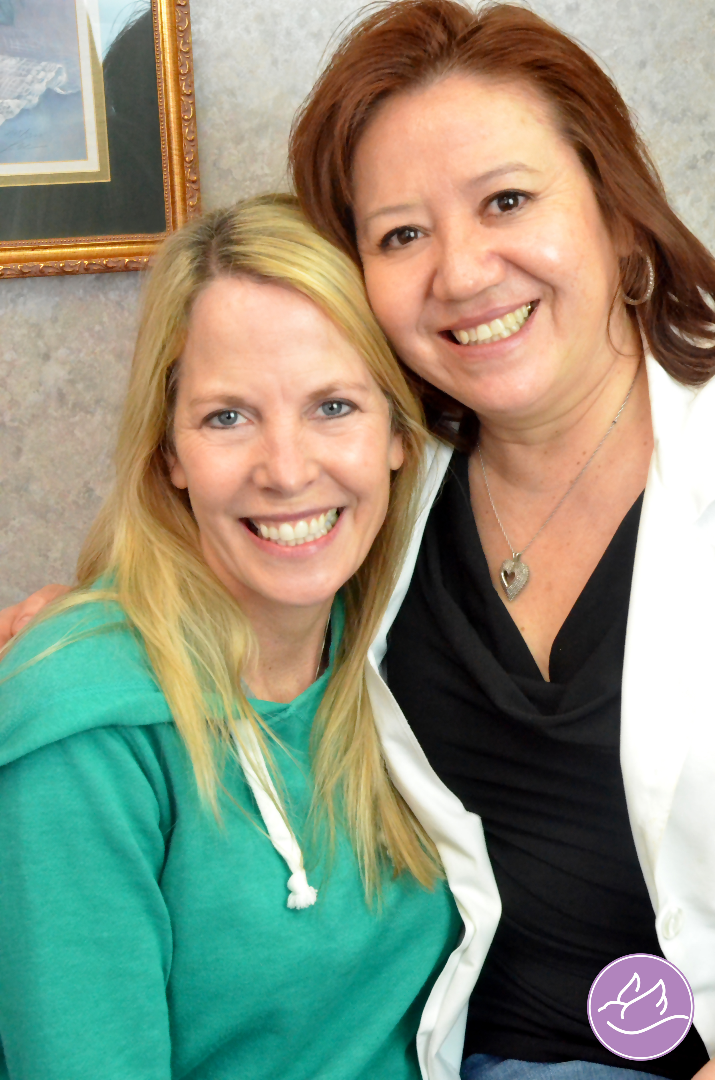 Teresa pictured here with one of her wonderful clients, friend, and model for our photos!