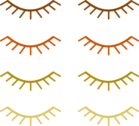 A collection of colored eyelashes in a variety of colors