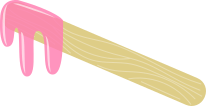 A waxing stick with melted pink wax for those with sesative skin
