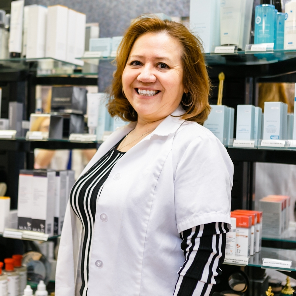 Teresa is pictured here in the salon. She has providing skin care and electrolysis services for over 20 years!