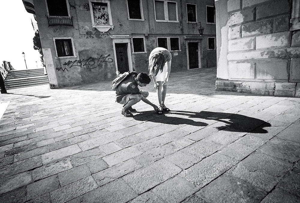 black and white photo venice