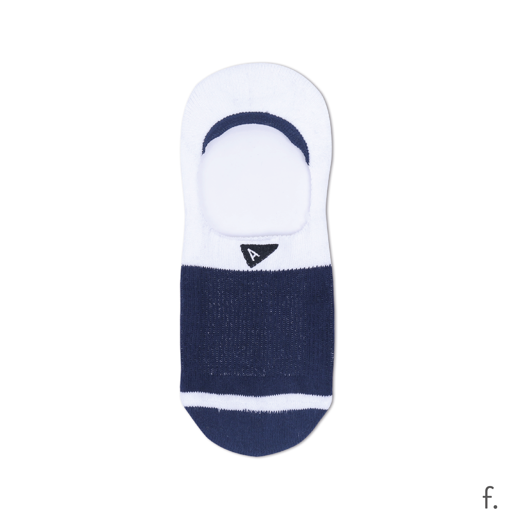 f. Navy & White No Show Sock.png