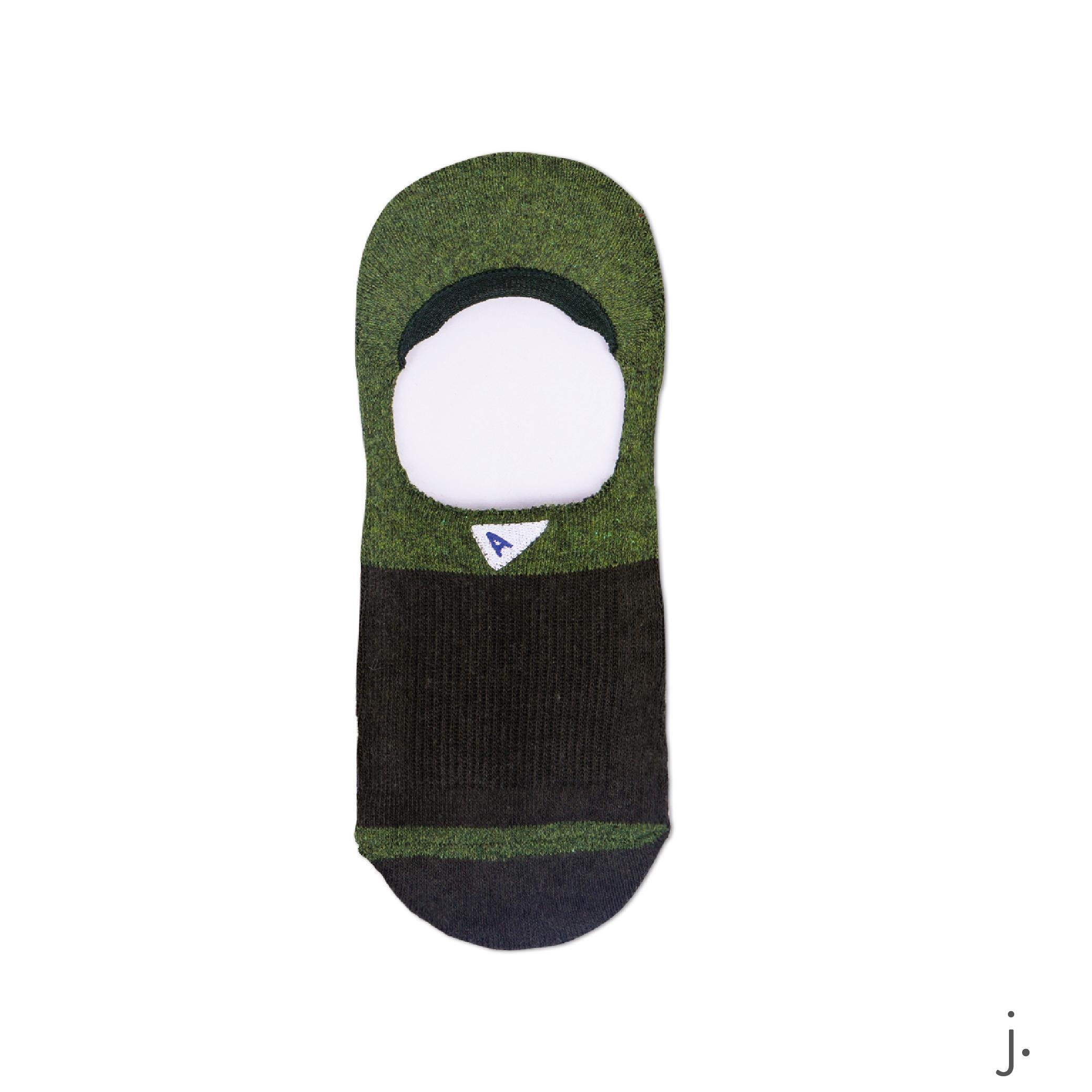 j. Dark Green & Green No Show Sock.png