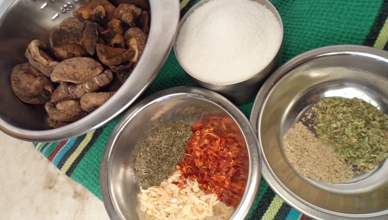 Ingredients prepped for Magic Mushroom Powder