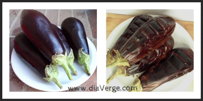 4 small eggplant, before and after roasting on the grill.
