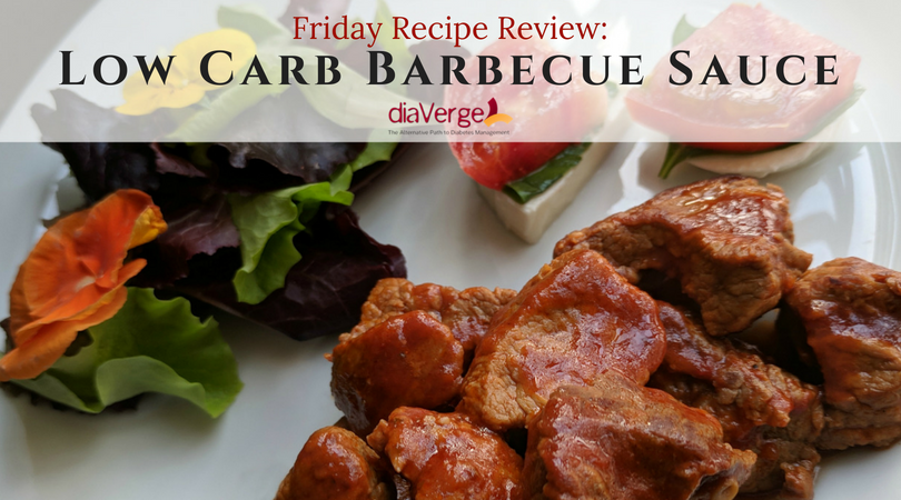 Just one of the many ways we've use this low carb barbecue sauce -- Served over chopped chuck roast, with sides of Caprese and green salad (including edible pansies).