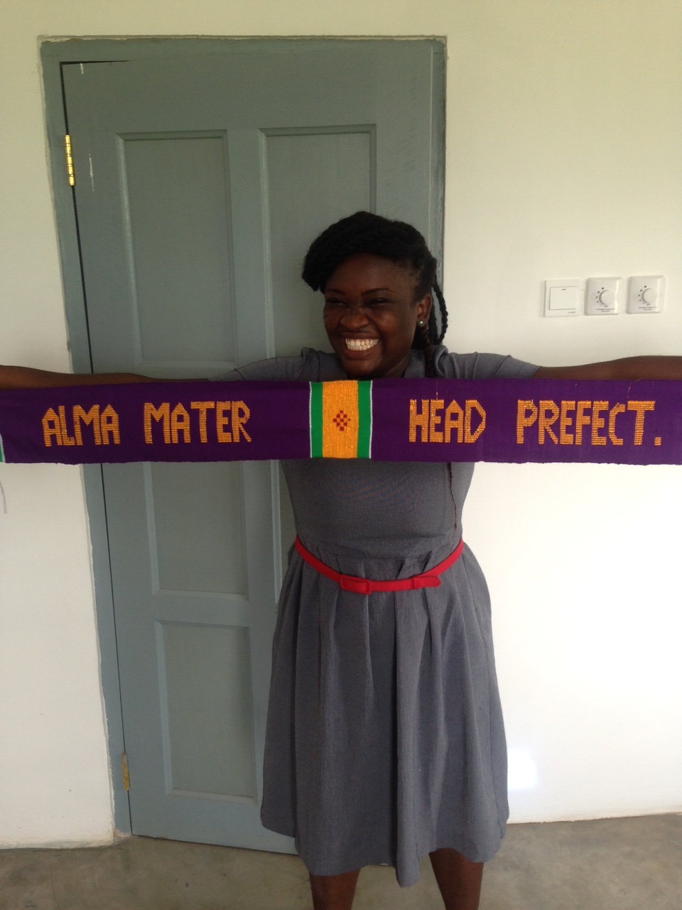 21. Rejoice, the Headmistress, with a scarf made by one of the students - April 2016..JPG