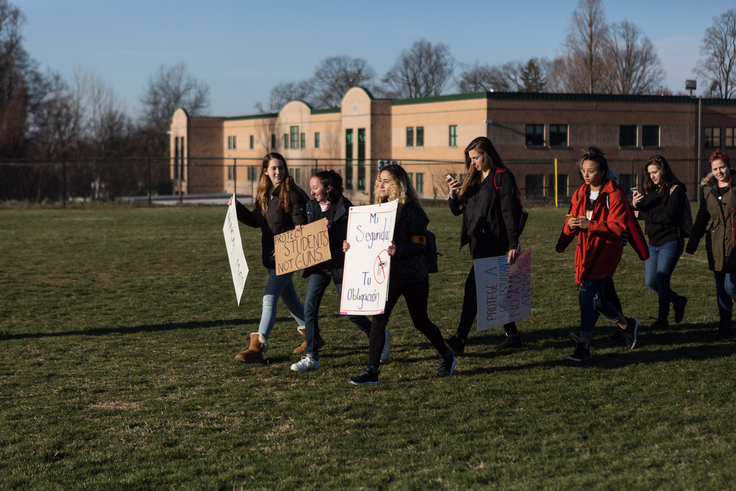 """I'm walking out today because as a woman, as a student, as a Latina, as a person of passion, I feel like it is my duty to be part of a movement which deeply affects people just like me. I'm the representative for Einstein local students for gun control and it was a collective effort of me and other applicants from other high schools to organize the whole county and then me and other organizers at my school specifically to organize our school.  We've been planning this for about three weeks now. It's been a headache, it's been super stressful, definitely sacrificing a lot—but it's all worth it in the end. I think the sacrifices of all the students, organizers, and representatives have made it so worth it for something that hits so deep.   There's definitely some pushback on social media. People will comment and say hurtful things, but honestly like we all understand what we're doing. We all understand how important it is to stay true to something that you are putting your heart into. So no matter what people say we're still going to do what we're going to do and be successful"" -Sofia Hidalgo, student at Albert Einstein High School, age 15"