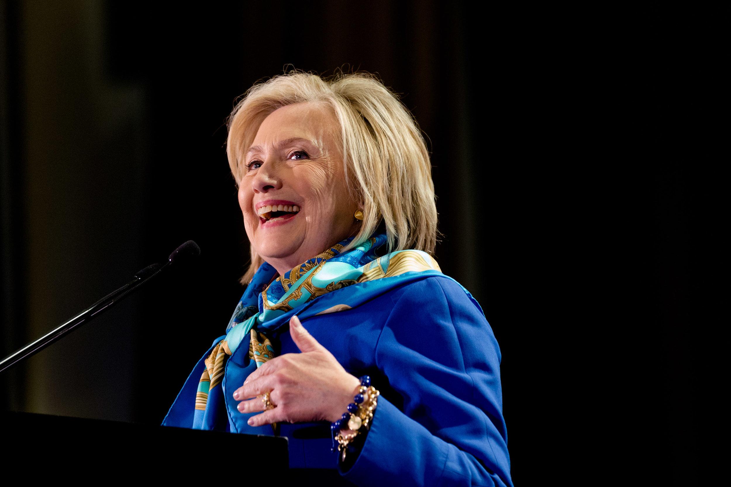 Hilary Clinton as the keynote speaker for the Regional Plan Association Assembly, New York, New York April 27, 2018.