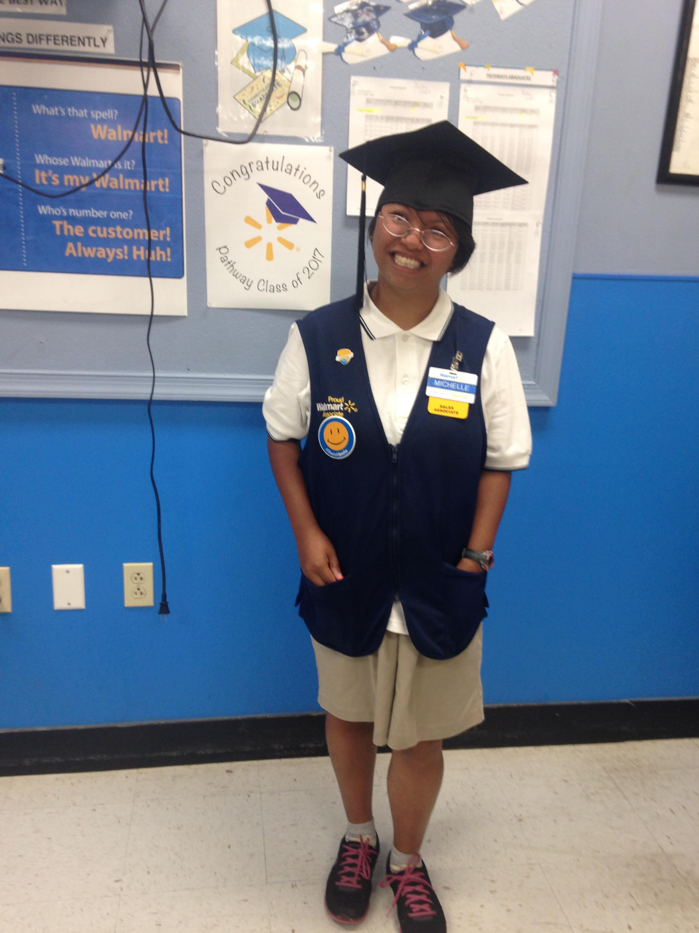 Michelle R. - Michelle R. is our November Employment Success All Star! She is a Greeter at Walmart who also works in the Summer Garden Center, Checks Customer Receipts and Zoning. Michelle has been working at Walmart since March 2018. She began her journey at Inroads working in Extended Employment.What is your favorite part of the job? I love meeting new people!How did you get the job at Walmart? Inroads to Employment with the help of my job coach Augusta. She helped me set up an interview and they hired me.What do you like to do in your free time? I love watching videos on my laptop.