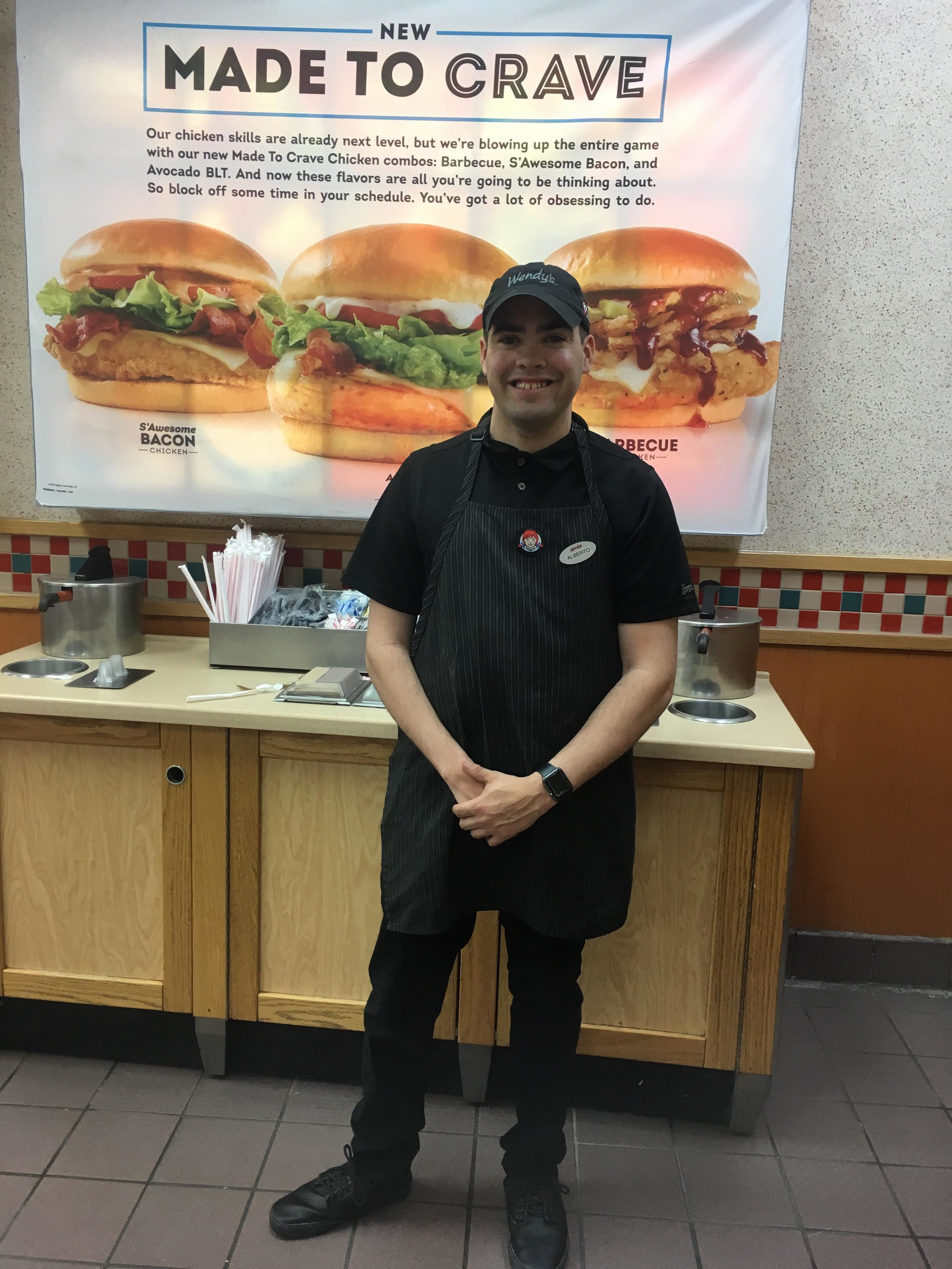 Alberto D. - Tell us about your job: I work for Wendy's in Woodbridge, New Jersey. I clean trays, take out garbage, replenish ketchup, straws, salt + pepper shakers and sugar. I do a very good job and customers get to know me and talk to me.How long have you worked there? Since November, 2018.What is your favorite part about working at Wendy's? I love talking to the customers and employees about sports. My old teachers run into me at my job and tell me they're proud I'm working here.Can you tell us about your experience working at Inroads? They treat me very nice and I'm happy they helped me get a job.What do you like to do for fun? I like to listen to music, watch soccer, football, basketball and take lots of pictures.