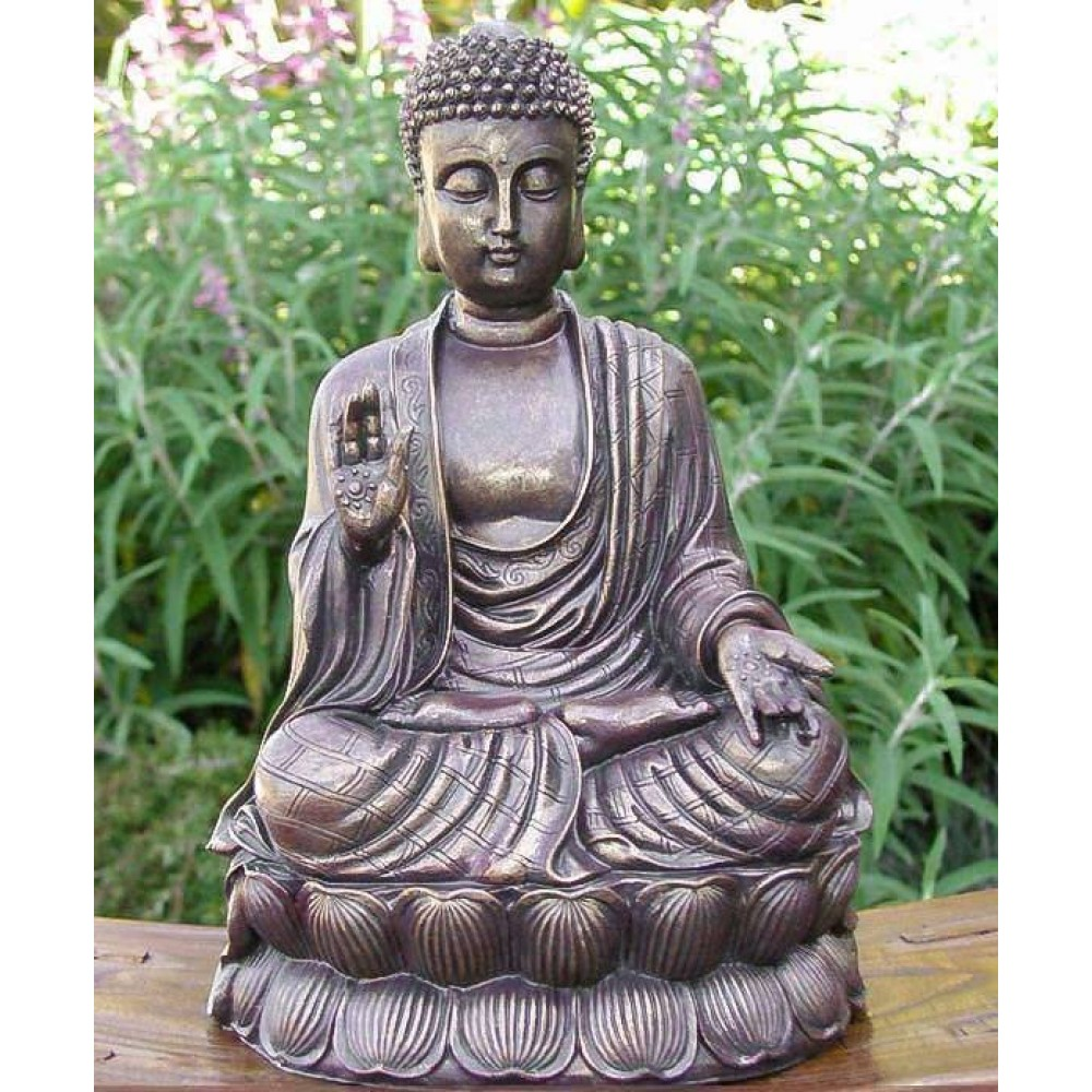 4RISSA.COM Sitting Shakyamuni Buddha Antique Bronze Finish Large Garden Zen Statue Sculpture $40.00