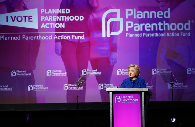 Hillary Clinton speaking at Planned Parenthood Action Fund event. Photo by Associated Press.