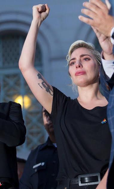 Lady Gaga at L.A. Vigil. Twitter @ladygaga                   Photo by:  David McNew/Getty Images
