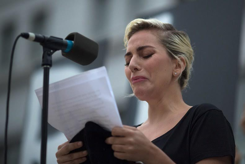 Lady Gaga at L.A. Vigil. Twitter @ladygaga  - Photo by:  David McNew/Getty Images