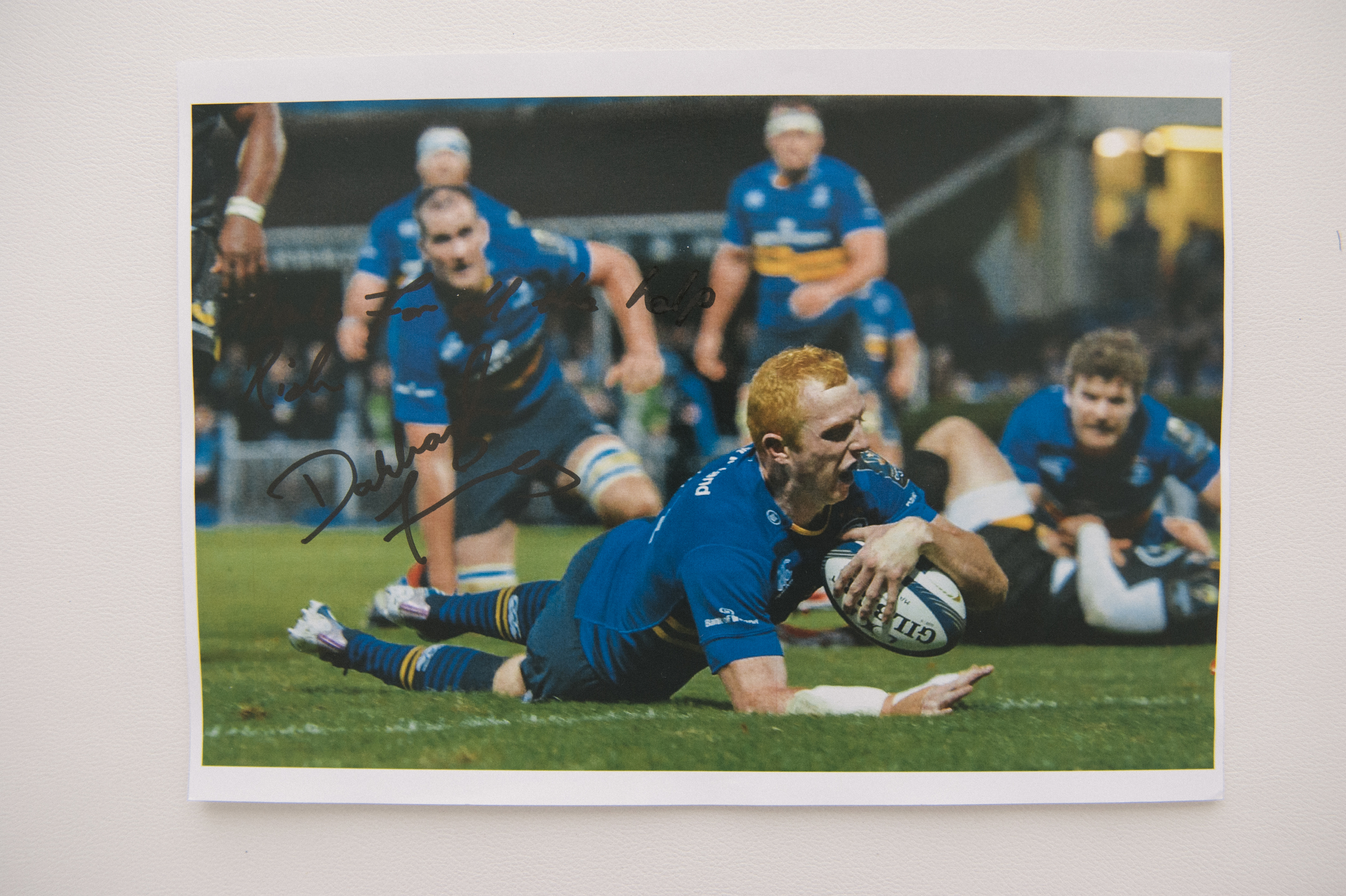 Leinster Rugby Player, Darragh Fanning, 'Thanks for all the help Rich, Darragh Fanning'