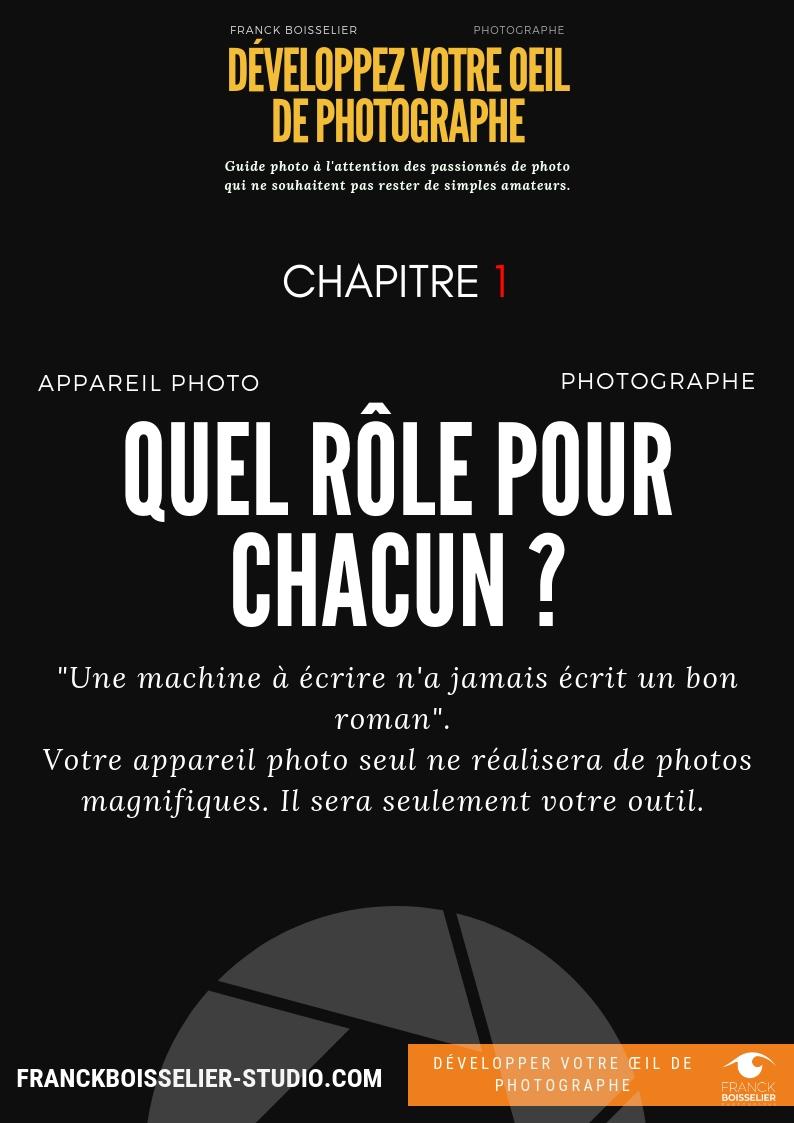 Appareil photo/ photographe : - Quel rôle pour chacun ? Ce guide de départ est pour moi le plus important car il permet de bien comprendre le rôle que vous avez à tenir lorsque vous vous engagez dans le merveilleux monde de la photographie.