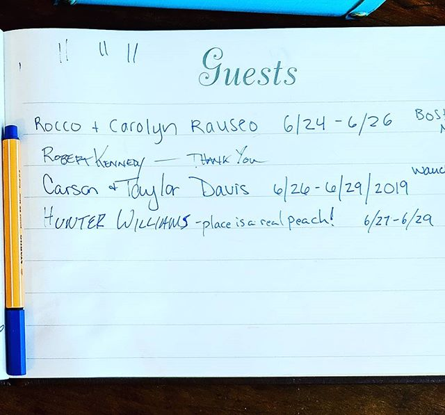 Our guest Mr. Williams nailed it! #guestbooks #smallhotels #peachy