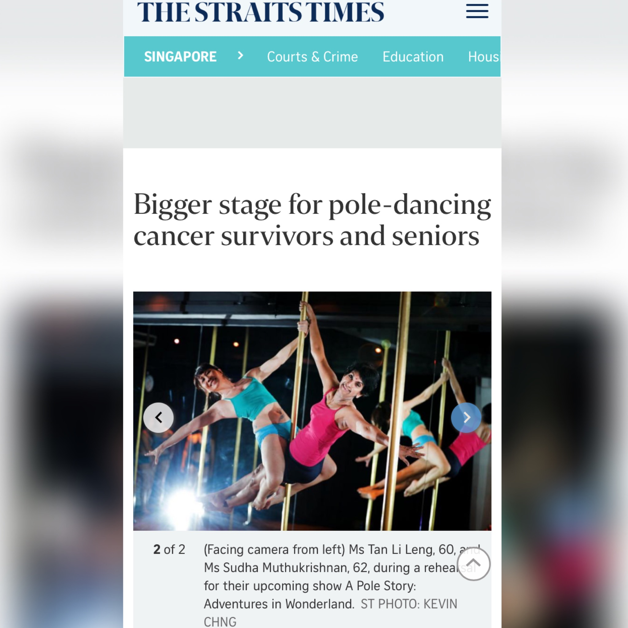 PR - A Pole Story 2018 - Straits Times - Pole-dancing breast cancer survivors to perform on Saturday - screen grab 01.jpg