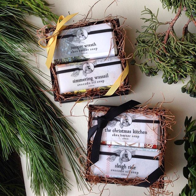 🎄Our Soap Gift Box makes a great white elephant gift. 🌟On sale now, select any two soaps and we will pack them in these tidy boxes finished with ribbon, all for 10 dollars! 🎄