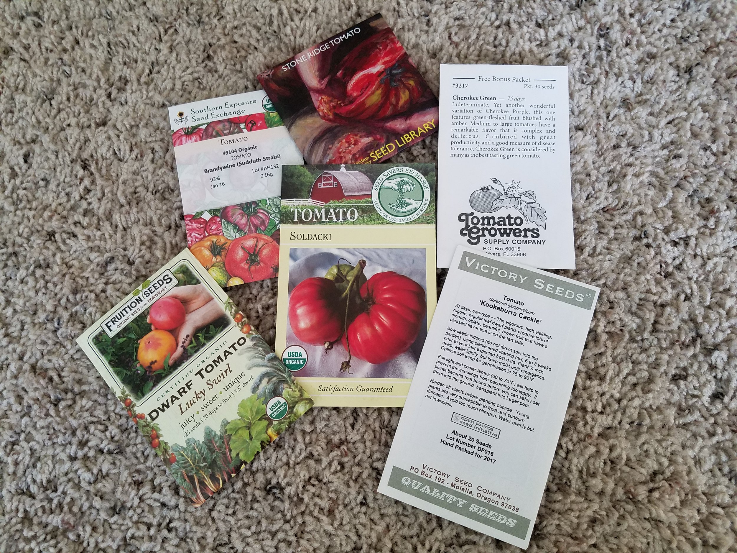 Sampling of seeds ready for handing out at my 2018 events, thanks to the generosity and support of some of my favorite companies.