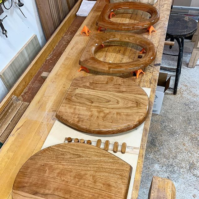 This is certainly a new one for us! Custom toilet seats for a yacht! @marthacoolidgedesign #yachtlife #customwoodworking #customtoiletseat #acgraylingfurniture #woodenyacht