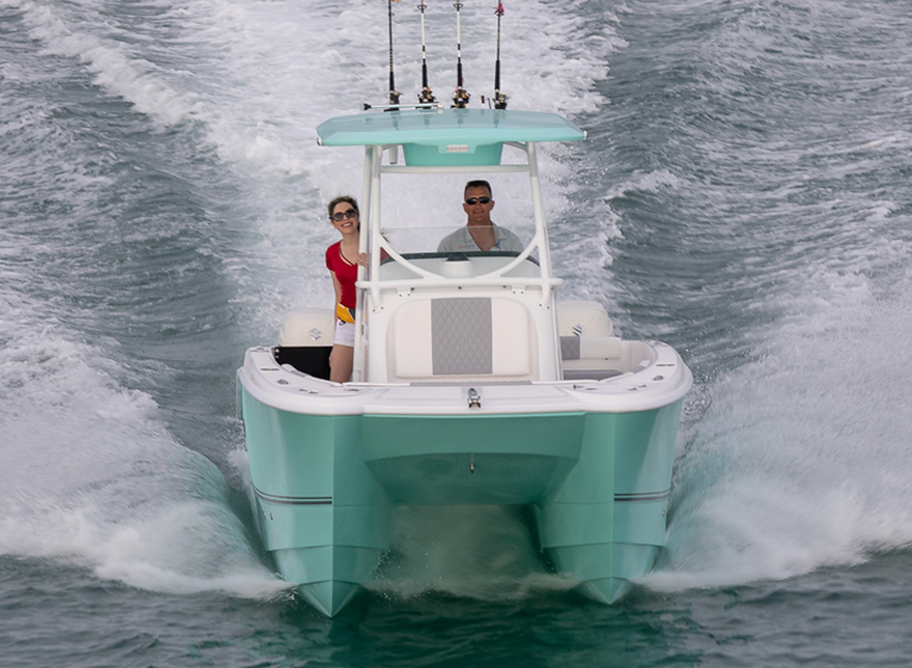 Aluminum T-Top - The aluminum Weblon Soft Top and Fiberglass T-Top are both optional on your 240 CC. The Fiberglass T- Top is packed with convenient features which includes anchor light, map reading light, spreader light, rocket launchers, electronics box and outrigger pads.