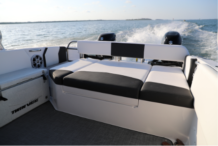 Stern day bed - The fully upholstered stern daybed is the perfect spot for your passengers to relax, spread out, share a picnic or enjoy the ride with the best seat in the house.