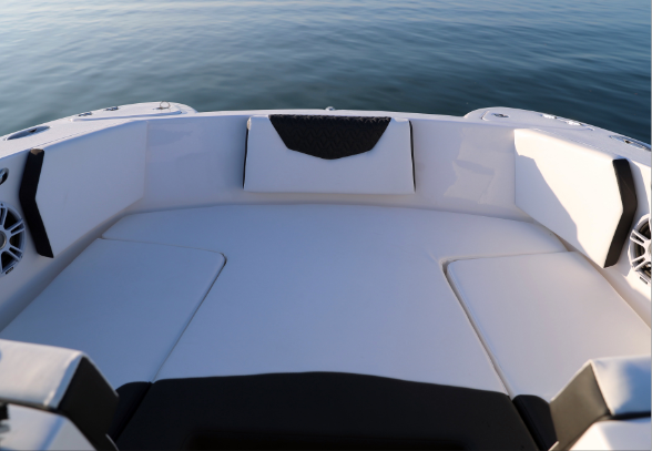 Comfortable Bow Layout - The bow of a dual-hull Twin Vee is one of the widest in the marine Industry. There is no denying the added roomy seating this boat offers. The 240DC is designed with entertainment and versatility in mind. Features include wrap-around seating with all the cushions, removable backrests, 2 easily accessible large storage boxes, drink holders and speakers to play your favorite tunes.