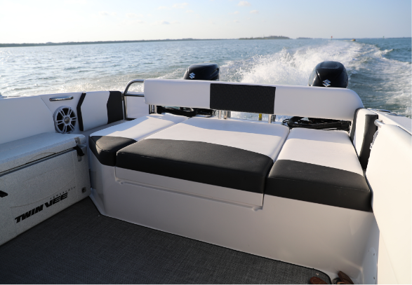 Stern Daybed - The fully upholstered stern daybed is the perfect spot for your passengers to relax, spread out, share a picnic or enjoy the ride with the best seat in the house.