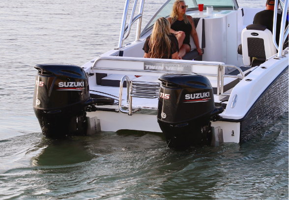 Twin Suzuki Engine Options - The perfect pairing, Suzuki motors and our 240 DC. Our multi hull boats' performance is enhanced with Suzuki motors on the transom.